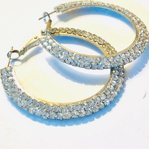Rhinestone Silver Hoop Earrings -Pageant or Formal